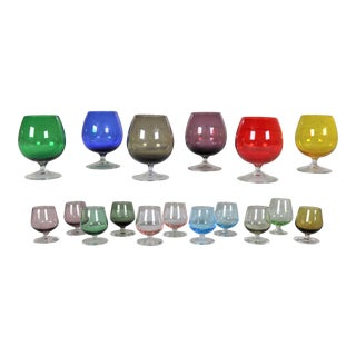 Set of 17 Multi Color Snifter Cocktail Glasses in Two Sizes For Sale