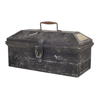 Sheet Metal Toolbox With Woven Copper Handle C.1930 For Sale