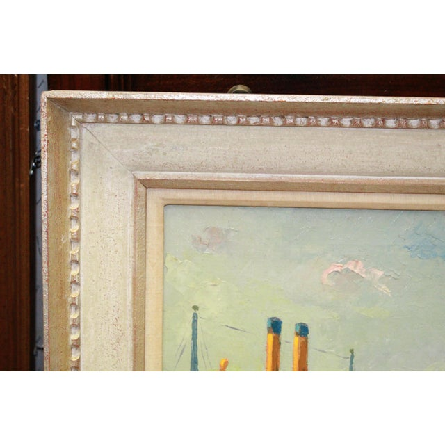 Nautical Early 20th Century Antique Buccholz Shipyard Scene Painting For Sale - Image 3 of 6