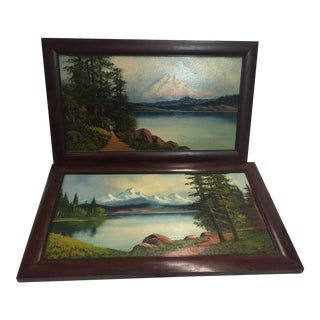 Antique Oil Paintings Washington State Crescent Lake & Mt Rainer by John Delane For Sale