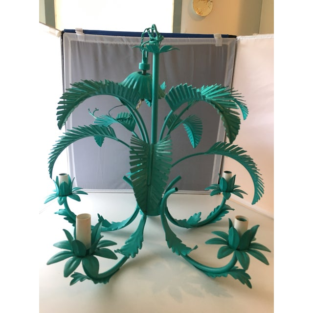 Turquoise Palm Tole Chandelier - Image 4 of 7