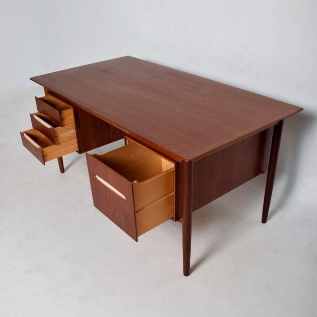 1960s Mid-Century Danish Modern Koford Larsen Era Teak Receiving Desk Bookshelf For Sale - Image 5 of 11