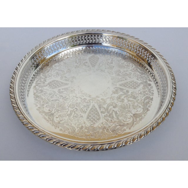 American Classical Silverplate Pierced Large Celtic Server Tray or Platter For Sale - Image 3 of 10