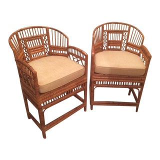 Bamboo Rattan Accent Chairs - A Pair