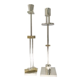 Ettore Sottsass Memphis Style Swid Powell Silver Plate Brass Candlesticks - a Pair For Sale