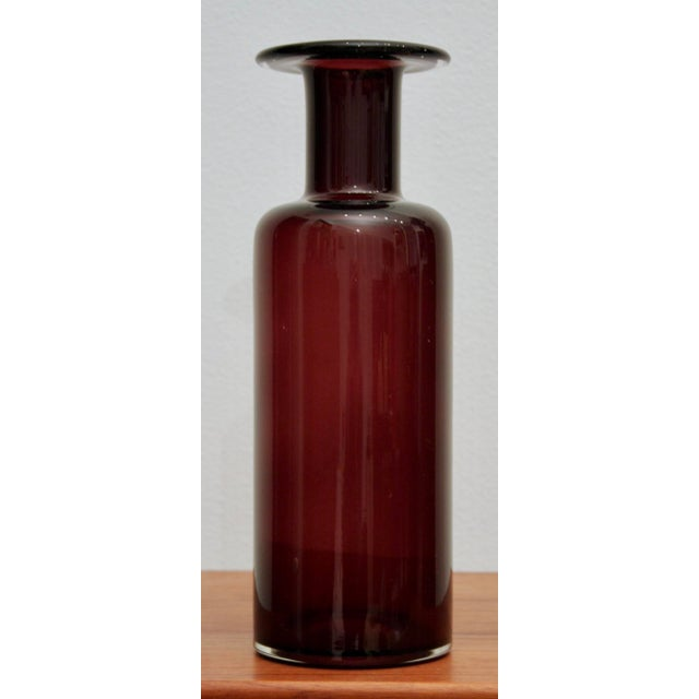 "Large 12 3/4"" Cranberry Glass Vase in the Style of Holmegaard Gulvase - Image 8 of 8"