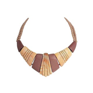Napier Ad Piece Brown & Tan Lucite Necklace 1985 For Sale