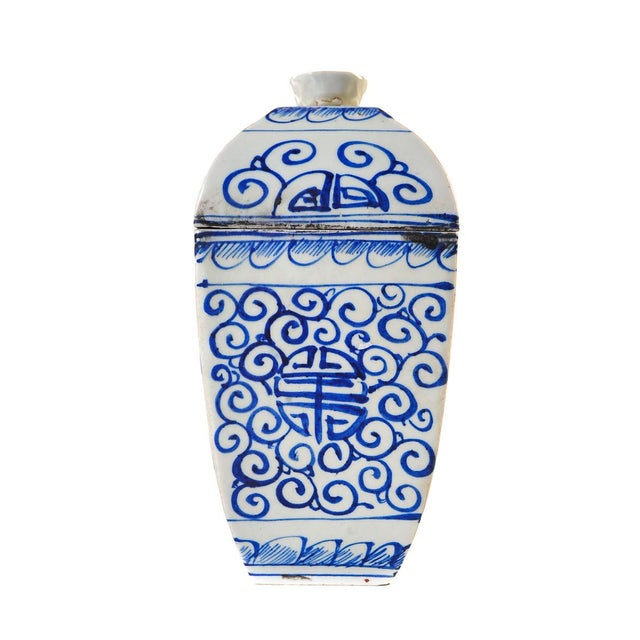 Chinese Chinese 19th Century Blue & White Urns - A Pair For Sale - Image 3 of 10