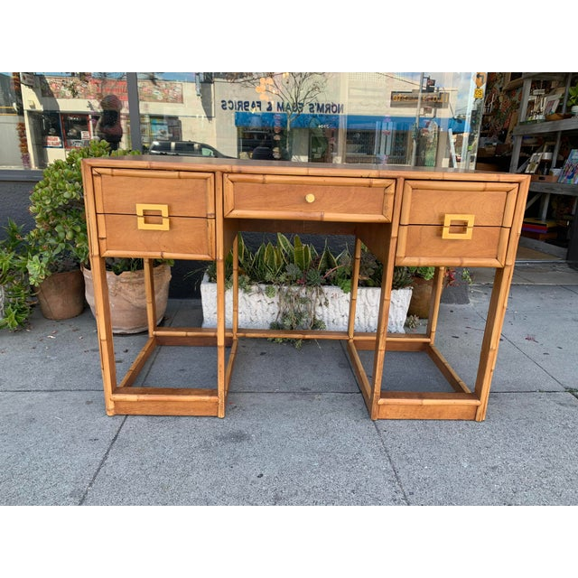 Mid-Century Vintage Bamboo Trimmed Desk For Sale - Image 9 of 11