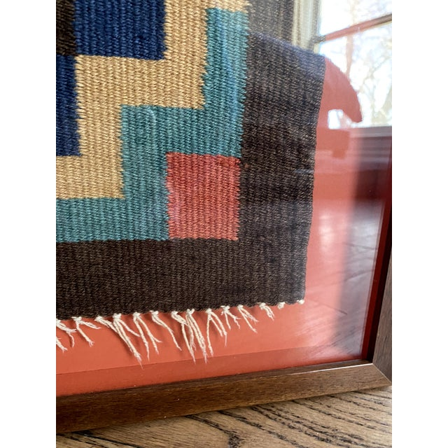 Scandinavian Red Textile in Red Shadow Box Frame For Sale - Image 9 of 13