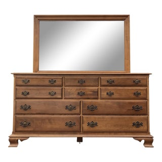 Solid Maple Ethan Allen Heirloom Dresser & Mirror For Sale