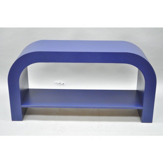Mid Century Post Modern Blue Laminate Curved Waterfall Console - Image 9 of 11