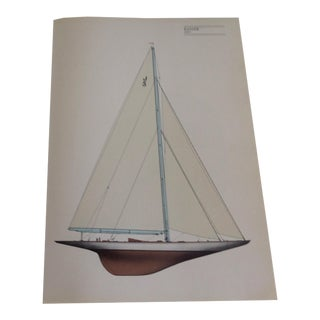 "Vintage ""Ranger"" 1937 Sailboat Print For Sale"