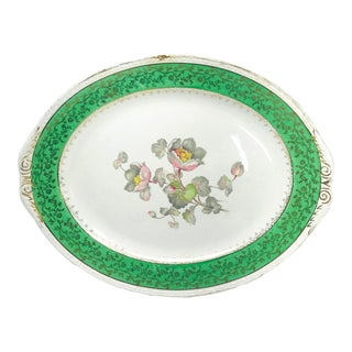 Homer Laughlin Eggshell Green & Gold Magnolia Flowers Oval Plate For Sale