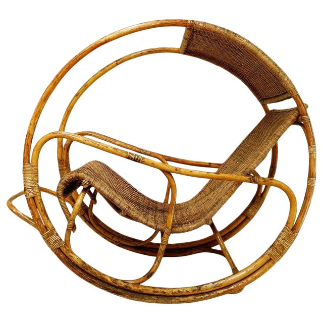 Rattan and Wicker Circle Rocking Chair, 1960s For Sale