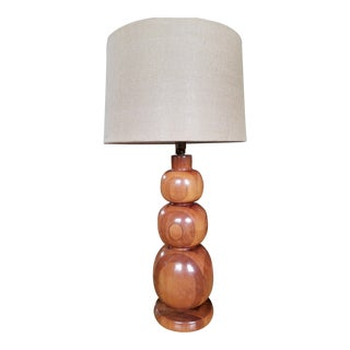 Turned Wood Graduated Spheres Table Lamp For Sale