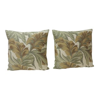 Pair of Green and Brown Banana Leaf Barkcloth Decorative Pillows For Sale