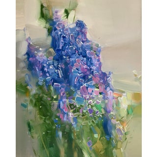 Lavender Contemporary Botanic Painting For Sale