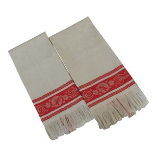 Vintage French Damask Turkey Red Kitchen Towels - a Pair For Sale