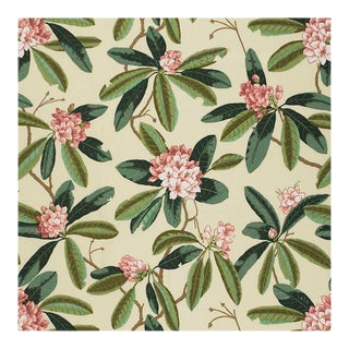 Scalamandre Rhododendron Outdoor Fabric in Reds & Greens Sample For Sale