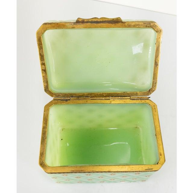 Celadon French Bronze Mounted Celadon Green Opaline Trinket Box For Sale - Image 8 of 10
