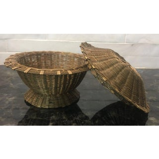 Vintage Miniature Woven Brass Covered Basket Preview