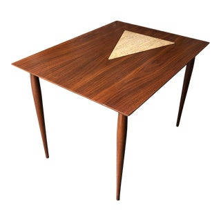 Vintage Mid Century Modern End Table With Travertine Inlay. For Sale