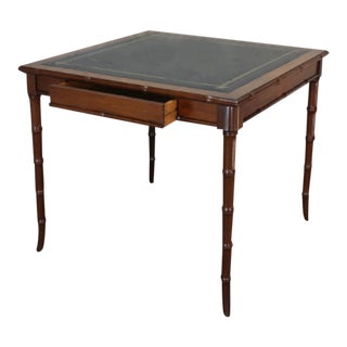 1960s Hollywood Regency Faux Bamboo Henry Link Leather Top Game Card Table For Sale