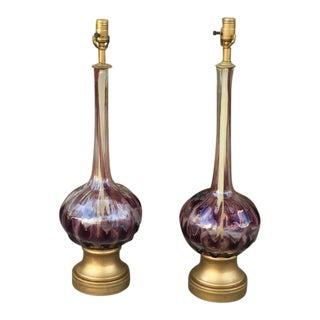 Vintage Art Nouveau Purple Glass Table Lamps - a Pair For Sale