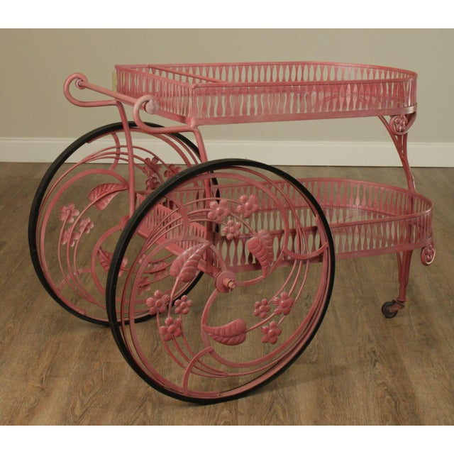 High Quality Vintage 2 Tier Wrought Iron Bar Cart with Glass Shelves and Large Wheels, Flower and Banana Leaf Designs...