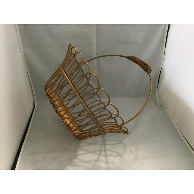 Metal Gold Vintage Metal Basket With Bamboo Bottom For Sale - Image 7 of 8