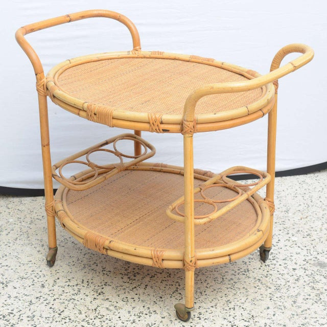 1960s Bamboo Bar Cart, Usa 1965 For Sale - Image 5 of 10