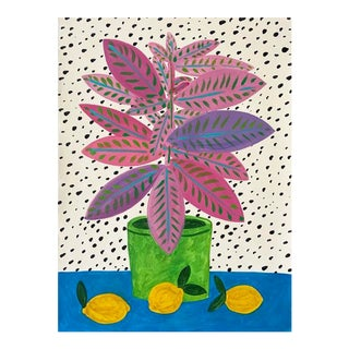 Contemporary Painting of Pink and Purple Plant For Sale