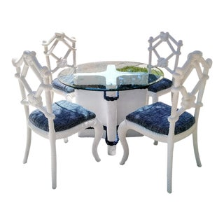 Custom Nautical Coastal Rope Design Dining Room Table Set 4 Rope Knot Dining Room Chairs For Sale