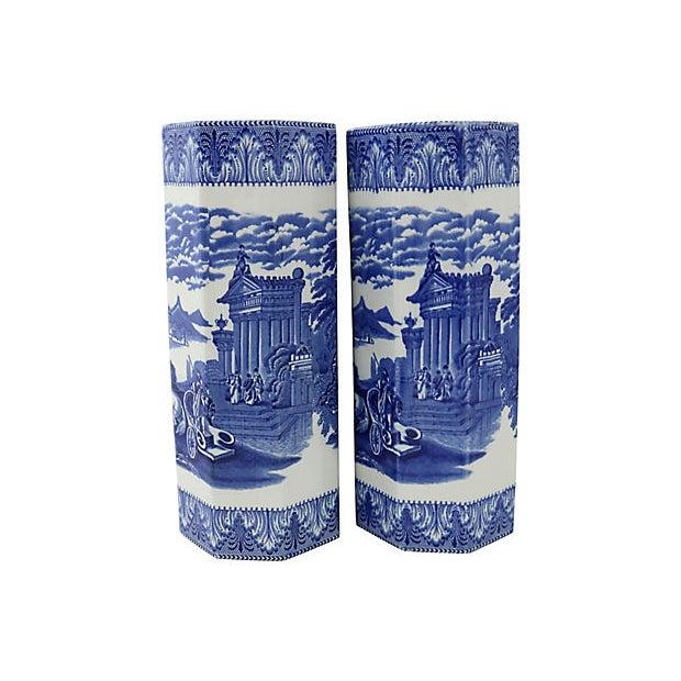 Pair of tall English Cauldon Chariot scene octagon shaped vases. Circa 1900. Maker's mark on underside. Light wear,...