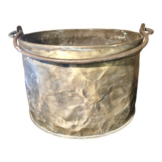 19th Century Antique Brass Cauldron With Iron Handle For Sale