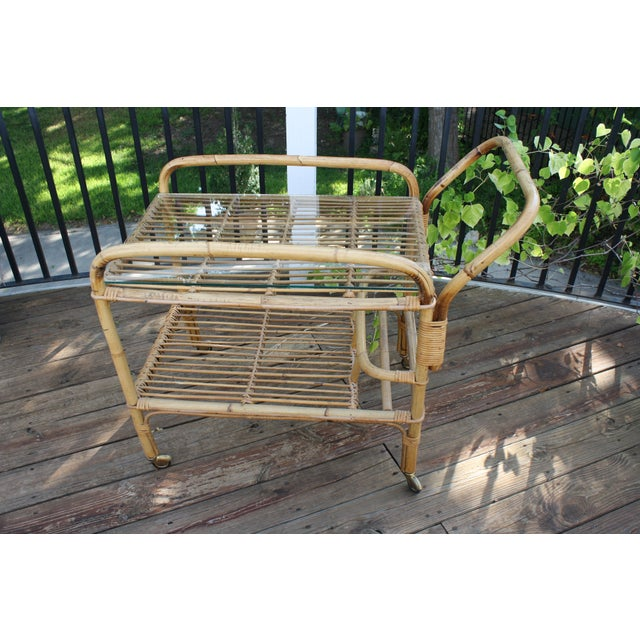 Gold Vintage Bamboo and Rattan Bar Cart / Tea Cart For Sale - Image 8 of 8