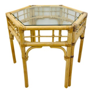 Vintage Ficks Reed Octagonal Side Table For Sale