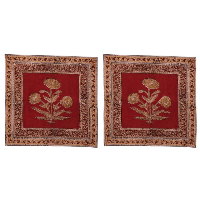 Poppy Napkins, Maroon - A Pair For Sale - Image 4 of 4