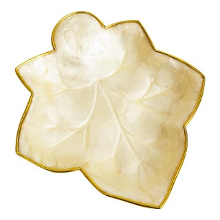Vintage Capiz Shell and Brass Leaf Tray For Sale