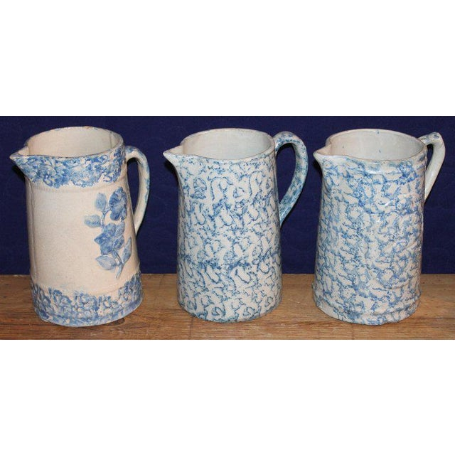 19th Century Sponge Ware Pitchers, Nine Pcs. Collection For Sale - Image 4 of 13