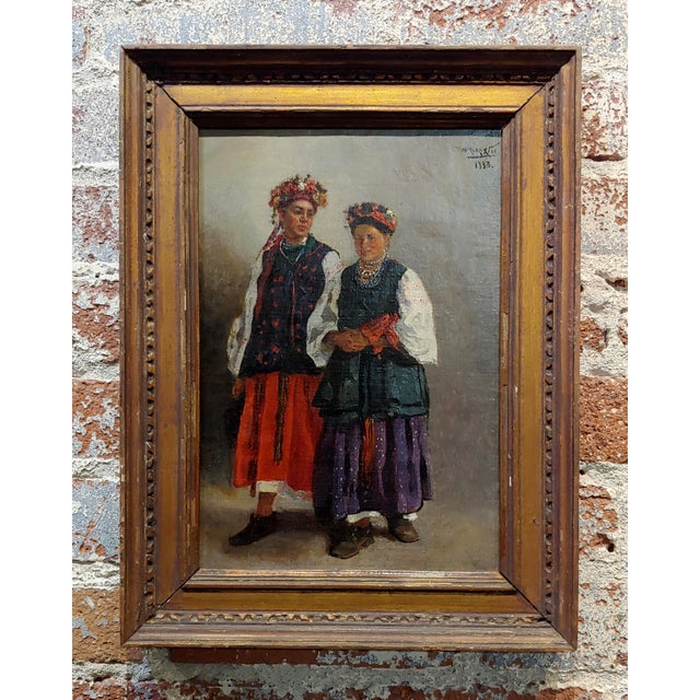 "Original 19th Century ""Russian Wedding"" Oil Painting For Sale - Image 10 of 10"