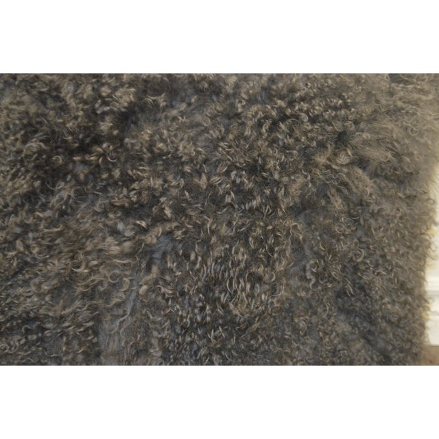 """Animal Skin 24"""" X 24"""" Grey Curly Lamb's Wool Skin Decorative Pillows - a Pair For Sale - Image 7 of 9"""