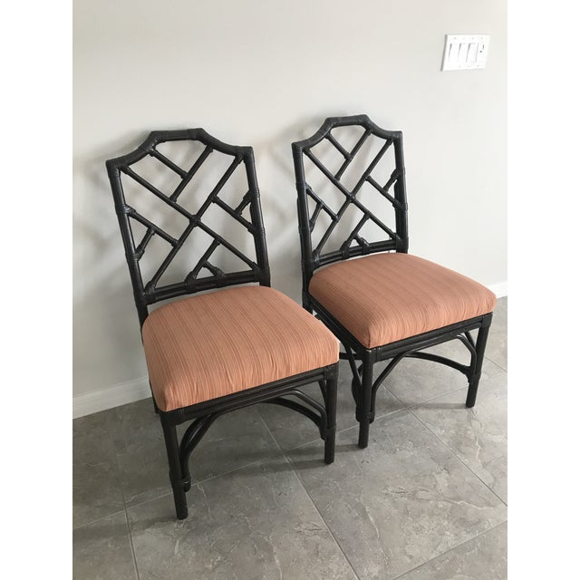 Wood Bamboo Chippendale Side Chairs - A Pair For Sale - Image 7 of 7