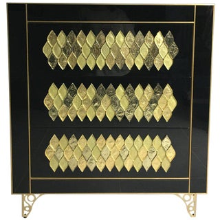 21th Handmade Mirrored Commode or Chest of Drawers in Murano Glass & Brass Inlay For Sale