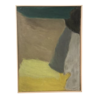 1960s Vintage Abstract on Canvas Painting For Sale