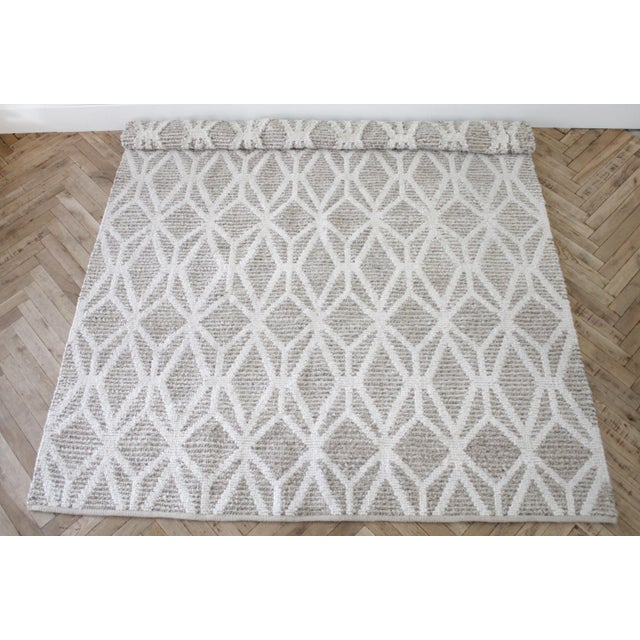 New Modern Wool and Natural Fiber Rug For Sale - Image 4 of 10