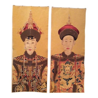 Vintage Chinoiserie Textile Wall Hangings - a Pair For Sale