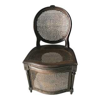 1950s Antique Cane Commode Chair For Sale
