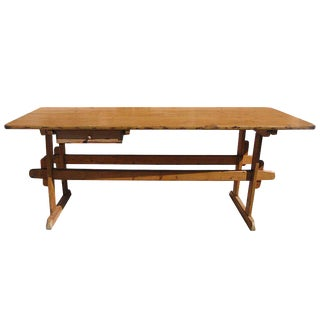 1920s Rustic Italian Trestle Table For Sale